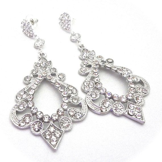 Rhinestone Earrings ~ Large ~ Bridal jewelry ~ Statement earrings ~ Beautifully detailed ~ Victorian ~ Brides earrings ~EXOTIC