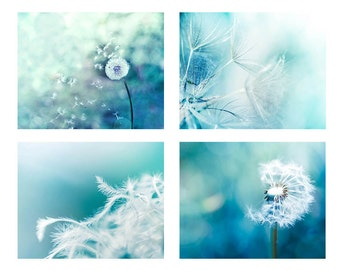 dandelion wall art dandelion photography nature 8x10 11x14 set of 4 fine art photography abstract dandelion decor nursery blue pastel teal