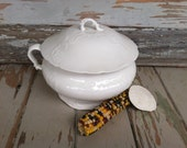 Antique White Ironstone Chamber Pot With Lid + Made in America - Victorian + Edwardian TST Ironstone, Antique Art Glass Gift, Vintage Gift