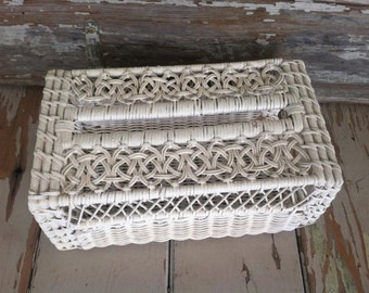 Popular items for wicker tissue box on etsy - White wicker bathroom accessories ...
