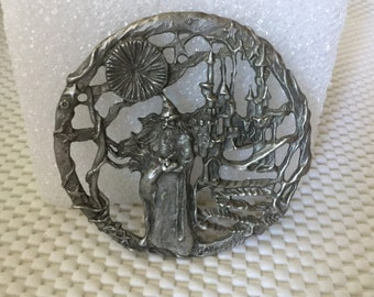 Wizard, Unicorn, Pewter Trivet, NOW ON SALE, Gallo 89, Fantasy Art Gallo Trivet, Collectible Trivet, Collectible Gallo,