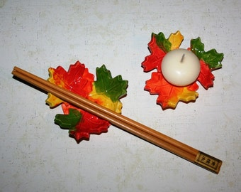 Maple leaf spoon rest, candle holder, ring dish with random Fall colors for unique look. Listing is for ONE maple cluster.