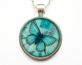 Turquoise Butterfly Necklace, Resin Art Blue Butterfly Pendant, Resin Jewelry