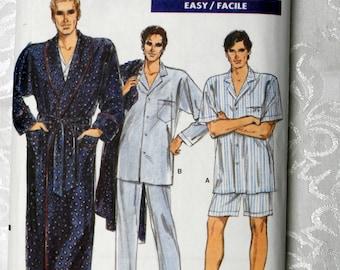 Vintage 1980's Vogue Pattern 7079. Mens' Robe, Top, Pants, Shorts & Transfer. Sizes XS-S-M