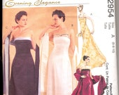 2000's Women's Evening Dress Pattern, McCall's 2954 Sewing Pattern, Size 6-10