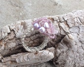 Sterling Silver Weave ring with pink quarts and fresh water pearls