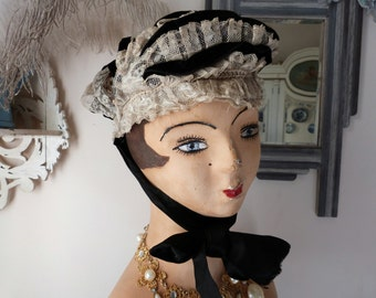 Antique French Victorian bonnet black velvet with handmade lace hat, velvet ribbons, lace pleated hat 1800s coiffe from the Pyrenées France