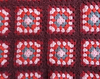 Vintage crocheted afghan child blanket granny square handmade retro 1960s French child bedding bedspread throw, vintage child bed linens