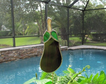 "Stained Glass ""Eggplant"" Garden Plant Stake/Garden Marker"