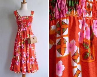 "10% Sale Code ""MAY10"" - Vintage 60's Royal Hawaiian Tiki Dayglo Smocked Sun Dress XS S or M"