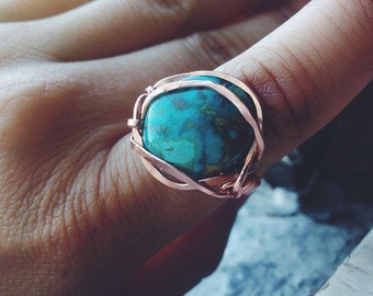 Copper Wrapped Turquoise Cabochon