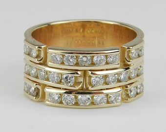 Diamond Anniversary Ring Wedding Band 14K Yellow Gold .60 ct Size 5.5 G SI1