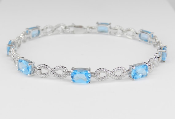 SALE Diamond and Cushion-Cut Blue Topaz Infinity Tennis Bracelet 14K White Gold
