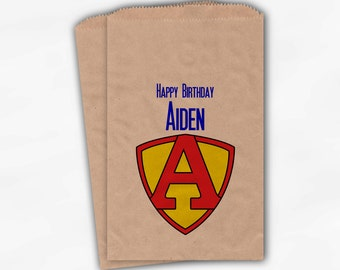 Superhero Birthday Party Candy Favor Bags - Custom Personalized Kraft Brown Treat Bags for Kids - 25 Paper Bags (0012)