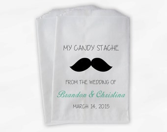 Mustache Candy Buffet Favor Bags - Mint Green Candy Stash Custom Personalized Treat Bags for Wedding - Paper Bags (0059)