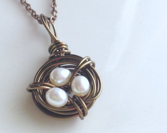 Nest Pendant Pearl Necklace Bronze Wire Wrapped Freshwater Pearls