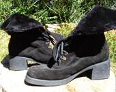 Designer Black Suede Boots 8