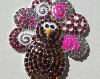 42mm x 48mm, Rhinestone Thanksgiving Turkey Pendant, P10