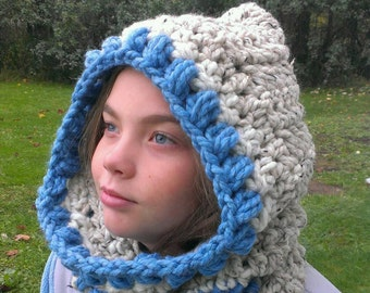 FREE SHIPPING-Crochet Cozy Hooded Cowl-Hooded Scarf-Neck Warmer-In Blue Oatmeal Color-One Size - Photo Prop
