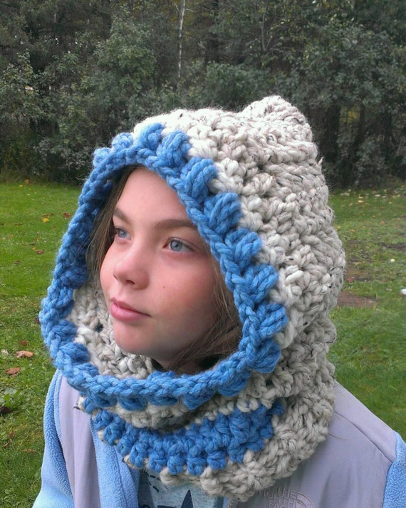 Free Crochet Pattern Hooded Neck Warmer : Items similar to FREE SHIPPING-Crochet Cozy Hooded Cowl ...