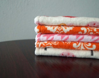 Baby Girl Washcloths - Owls & Houndstooth - Pink, Orange - Baby Shower Gift