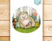 Digital illustration print - Wonderland friends