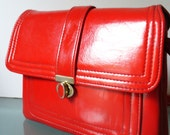 Vintage Mod Candy Apple Red Patent Leather Purse