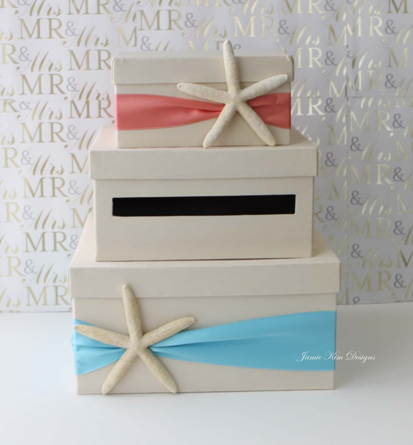 Beach Theme Home Decor Shadow Box Beach Gift: Wedding Card Box Beach Theme Starfish Wedding Card Holder