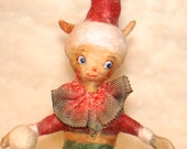 OOAK Spun cotton snowball elf centerpiece vignette vintage craft ornament by jejeMae