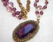 Necklace ~ Vintage Purple Gypsy Bohemian ~ Large Pendant ~ Amethyst Purples ~ Beaded Chain