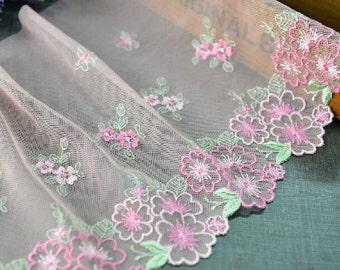 "5 yard 20cm 7.87"" wide pink green mesh embroidery lace trim ribbon L22K421 free ship"