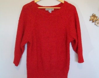 Vintage Bright Red Italian Sweater- Dolman Sleeve (( Size Small to Medium))