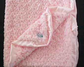 Minky Blanket, pink blanket, baby girl, blanket with ruffle, minky blanket with ruffle, photo prop, baptism blanket, blessing, valentines