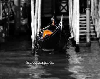 Italy Photography,Gondola,Grand Canal,Black & White,Fashion Print,Romantic Travel,Tuscan Home Decor,Tuscany,Venice,Venetian,Rustic,Yellow