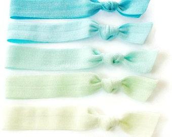 5 Hair Ties, Beach Glass, Sea Glass, Ombre Set of 5, Lucky Girl Hair Ties, ponytail holder, beachy, mermaid hair ties