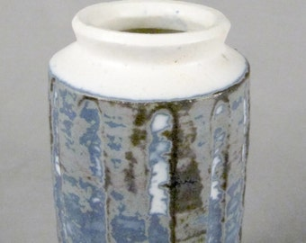 Great glaze, mid century studio pottery vase, ribbed, blue, grey