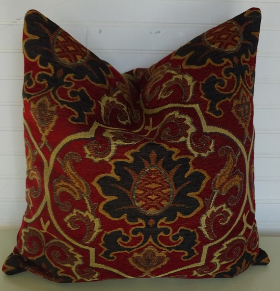 Chenille Throw Pillow Covers : Red Chenille Pillow Cover with Navy and Sand Suzani 18x18 or