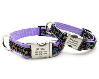 Plaid Paws & Bones Dog Collar with Laser Engraved Personalized Buckle - Lavender