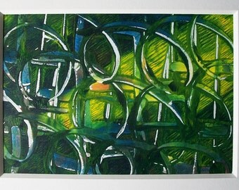Behind Invisible Walls Blue and Green Monoprint Acrylic Painting 5x7