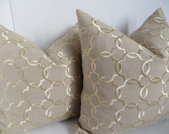 Decorative Pillow Cover, Beige Gold Pillow Cover, Beige Linen Pillows, Gold Pillow Cover