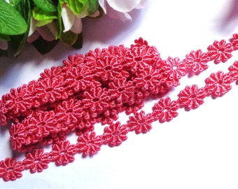 Soft brick red daisy embroidered lace trim 1/2 inch wide selling by the yard