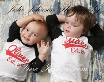 BIG brother LITTLE brother set - Kid's personalized NAME and year raglan baseball shirts - infant/ kids sizes
