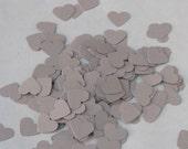 Confetti hearts 200 pcs - light grey - cardstock party wedding baby shower scrapbook crafts