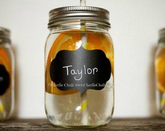 Fancy Chalkboard Labels Bubble Frame 2 x 3 for diy Wedding Mason Jars Featured on MotherEarthNews.Com Outdoor Summer Barn Reception idea