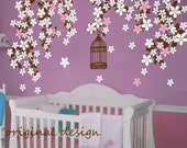 Nursery wall decals cherry blossom tree decalsBaby decals kids wall decals pink white girl wall art- Cherry Blossom vines
