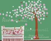cherry blossom wall decals baby nursery decals kids wall art  pink white girl wall decor wall art- Cherry Blossom Tree with butterfly
