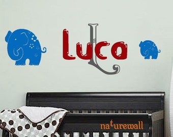 Baby Boy Nursery - Name Wall Decals with elephants- Boys Room Decor - Boys Wall Art - Baby Wall Decals