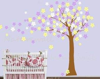 cherry blossom tree wall decals baby nursery decals kids wall decor wall art- Cherry Blossom Tree with butterfly