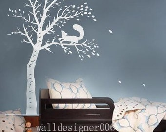 Vinyl Wall Decal wall Sticker Graphic  Art-tree with squirrel