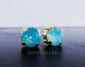 Mint Opal Earrings Aqua Swarovski Crystal Studs Gold Post Simple Dainty Chic Modern Small Petite